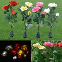 Deco Solar Powered Rose Flower LED Light Garden Yard Lawn Landscape Lamp Outdoor