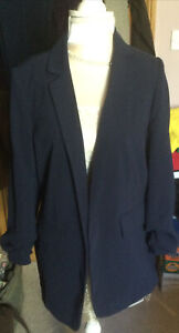 new look Navy Blue Trouser Suit Bnwt 10 Little Ruch To Sleeve Straight Leg
