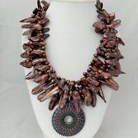 "H041307 3Strands 25/'/'-27/"" Pearl Necklace CZ Pendant"