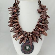 20'' 3 Strands Brown Shell Pearl Necklace Big Cz Pace Pendant