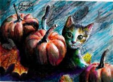 Jacob Landis Limited edition ACEO print /250 Calico Kitten leaves autumn fall