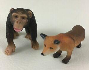 Schleich Figures Fox Chimpanzee Monkey PVC Lot 2004 Toy Wild Animal Collectible
