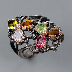 Handmade Jewelry design Tourmaline Ring Silver 925 Sterling  Size 7.5 /R177531