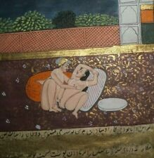 INDIAN MUGHAL MINIATURE EROTIC PAINTING C1900