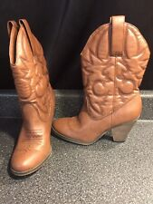 Route 66 Women's Ankle High Western Style Boots Solid Brown SZ 9 Cowgirl Cowboy