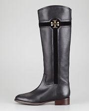 NEW TORY BURCH ALAINA Black Pebbled Leather Riding Flat Boot Equestrian Sz 5.5 M