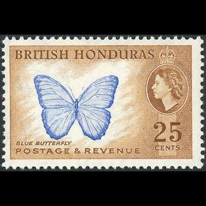 BRITISH HONDURAS 1953-62 25c Butterfly. SG 186. Mint Never Hinged. (AM594)