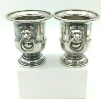 Viners Of Sheffield England Silver plated thoothpick holders Lion Head Handles