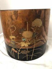 Antique Japanese Hibachi Brazier Kiri Wood Inlaid MOP Metal Flowers Copper Liner