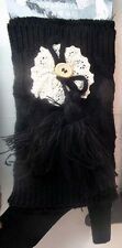 * knit boot cuffs, boot toppers, leg warmers  lace and tassle black warmup