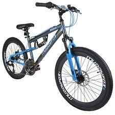 "Muddyfox Idaho 24"" Boys Dual Suspension Mountain Bike Grey/Blue Dual Disc Brakes"
