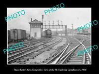 OLD HISTORIC PHOTO OF MANCHESTER NEW HAMPSHIRE, MA RAILROAD SIGNAL TOWER c1930
