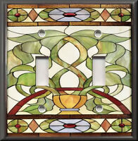 Metal Light Switch Plate Cover - Art Nouveau Stained Glass Pattern 05 Home Decor