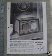 ca.40s RCA Tabletop Radio Model 86-X-4 One sheet advert