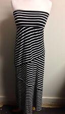 Max Studio Knit Dress! Strapless Black & White Striped Asymmetrical!!Sz-XS