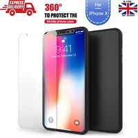 Ultra Slim Full Body 360° Protective Case Cover + Tempered Glass for iPhone X 10