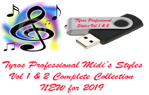 Yamaha Tyros 2 Pro Midis with Styles. New for 2019. Vol 1 and 2 Twin Pack USB.
