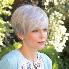 WIG PRO New Short  Silver Gray Human Hair Wigs for Women