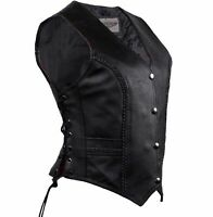 Ladies Women Braided Soft Black Leather Biker Motorcycle Concealed Carry Vest