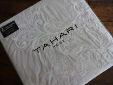 TAHARI BEIGE White Embroidered FLORAL COTTON Full QUEEN DUVET COVER Sham SET 3PC