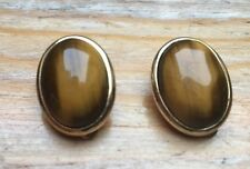 Vintage Chunky Oval Tigers Eye Clip On Earrings/Glass/Gold Metal/Retro 80's
