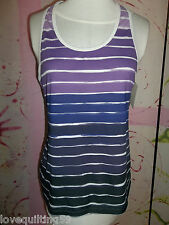 """CHAMPION"" Active Wear Sports Top, Racer Back in PurpleWht Stripes,Size XLarge"