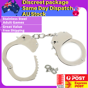 BLACK Metal HANDCUFFS Bondage BDSM Hand Cuffs Sex Toy Fetish Couples Steel