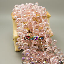 30 Pcs AB Pink Top-drilled Faceted Teardrop Glass Crystal Beads 13×8 mm- CH245