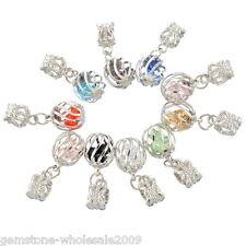 10PCS Wholesale Lots Mixed(10Colors) Cage Dangle Beads Fit Charm Bracelet GW
