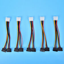 Molex to 2 SATA Dual Power Y Splitter Adaptor Cable Lead 2 Way 4 Pin -15 Pin *