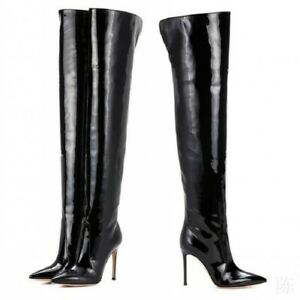 Women Pointed Toe Patent Leather Thigh High Over the Knee Boots Stiletto Shoes
