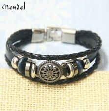 MENDEL Mens Womens Stylish Arrow Flower Symbol Leather Bracelet Cuff Wristband