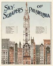 Skyscrapers of Philadelphia c. 1898 Vintage Reproduction Print Poster 11x14
