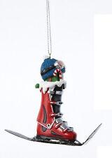 KURT S. ADLER HAND PAINTED SKIING THEME CHRISTMAS ORNAMENT RED SKI BOOT ON SKI