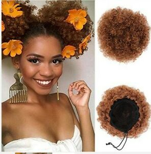 Afro kinky curly hair bun puff ponytail extensions professional stylist grade A