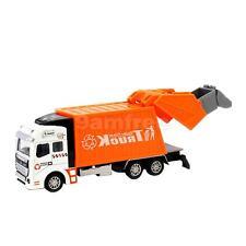 Die Cast Pull Back Sanitation Garbage Truck Model Kids Toys Gift - Orange