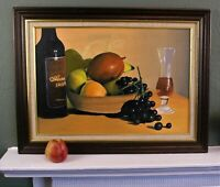 Vintage Oil on Canvas Board Still Life Painting 'Fruit Bowl' Framed Signed 24.5""
