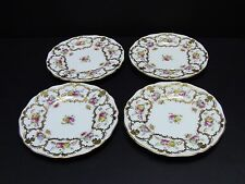 Cauldon England Floral/Gold Gilt Bread & Butter Plates / Set of 4