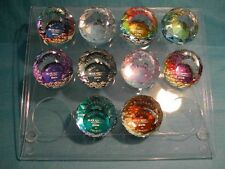 Swarovski Warner's Round Ball Paperweights 40mm Set of 10 with Display Stand