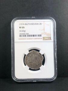 1574-86 P B Bolivia 2 Reales. NGC VF 35.