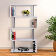 HOMCOM Librería Mueble Estantería de Oficina Hogar 145x80x30cm Madera Blanco