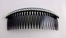 Rhinestone hair comb black plastic with white simulated pearls jumbo 5.5 inches