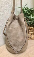 L J Simone Brown Taupe Suede Leather Drawstring Bucket Bag Shoulder Handbag NWD
