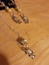 sterling silver chain tibetan silver fish pendant fish/beads earrings
