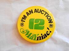Vintage WUHY Channel 12 Philadelphia I'm an Auction Mayniac Promo Pinback Button