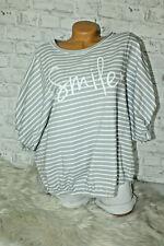 Italy New Collection Sweatshirt Sweat T-Shirt grau Oversized 38 40 42 44 blogger