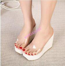 Womens Platform Wedge Heels Clear Transparent Peep Toe Sandals Mules Summer HOT