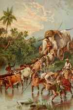 A4 Photo Stanley & Africa c1875 Crossing a stream in South Africa Print Poster