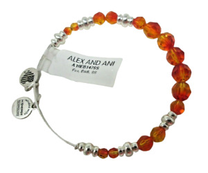 Alex and Ani Expandable Charm BRACELET NEW NWT Orange Faceted Glass Beads