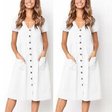 Ladies Women V Neck Holiday Dress Summer Beach Button Pocket Midi Swing Sundress